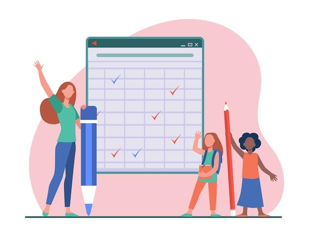 黒板の小学生。巨大な鉛筆を持って、手を上げる女の子と若い女性