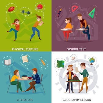 School students cartoon concept illustration