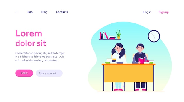 School students in classroom. teen children sitting at desk and reading books. back to school, class, knowledge concept for website design or landing web page