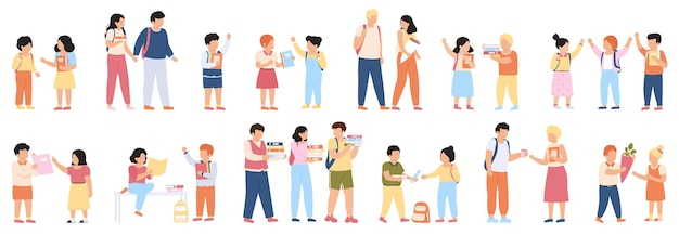 School students groups. elementary school pupils and students with backpacks going to school together illustration set