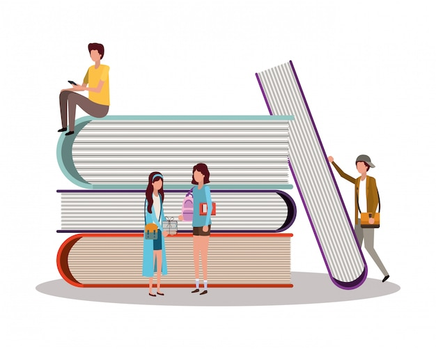 School students with books , education lesson study learning classroom and information