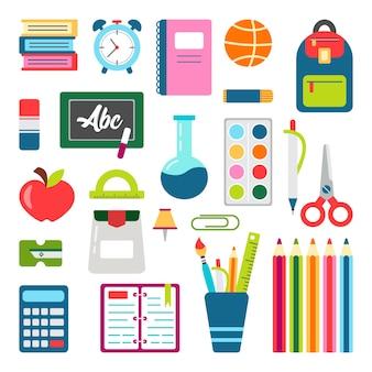학교 물건 세트. 학교 고정으로 돌아갑니다. 교육 용품.