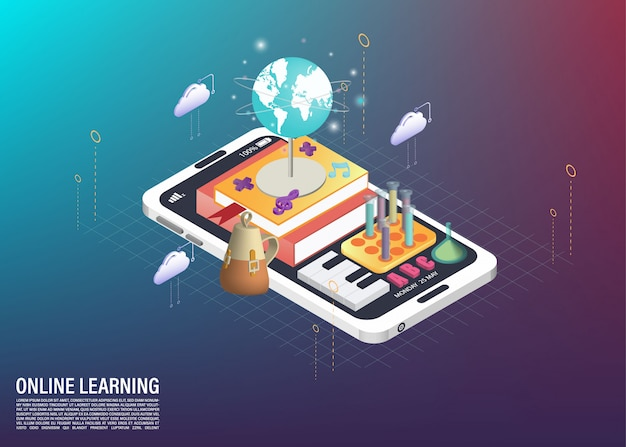 School subject and online learning on cellphone isometric illustration