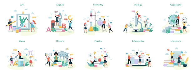 School subject set. idea of education and science