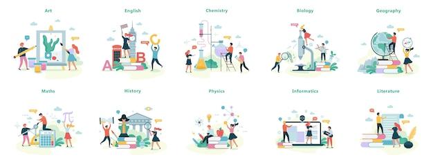 Набор школьных предметов. идея образования и науки