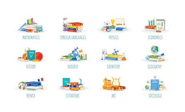 Набор школьных предметов плоский концепции. метафоры естественных и формальных наук. уроки иностранного языка, физики, экономики. учебники и расходные материалы для студентов 2d-мультяшные объекты