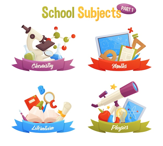 School subjects set include vector cartoon elements: molecule, microscope, flask, computer, book, ruler, telescope, apple, pencil, magnet, light. maths, chemistry, literature, physics.