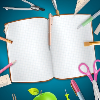 School supplies on blue background.   file included