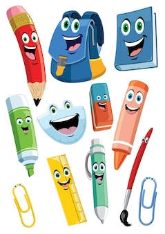 School supplies cartoon characters set