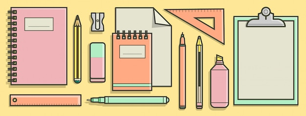 School supplies collection in flat design concept.