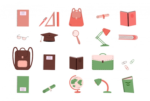 School supplies or college education stationery - isolated set