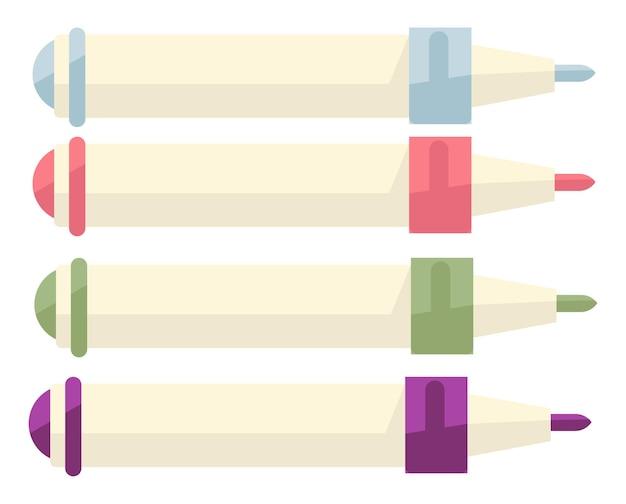 학용품, 그림을 그릴 수 있는 다채로운 크레용. 필기 또는 형광펜, 사무용 문구용 마커. 대학, 대학, 유치원, 평평한 벡터에서 미술 수업을 위한 여러 가지 빛깔의 분필 연필