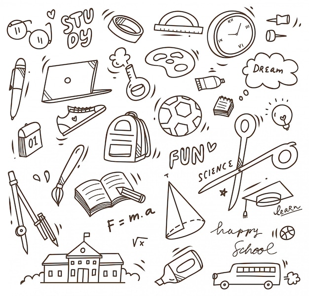 School supplies doodle, back to school vector element