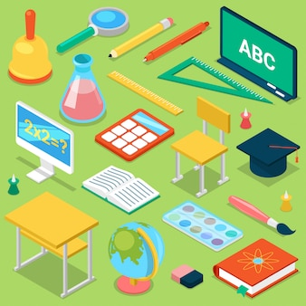 学校は、孤立した背景に教室等尺性イラストセットで勉強するための小学生教育文房具の教育学校アクセサリーを供給します。