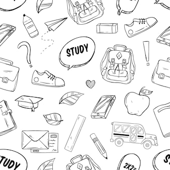 School supplies or elements in seamless pattern with sketchy style on white