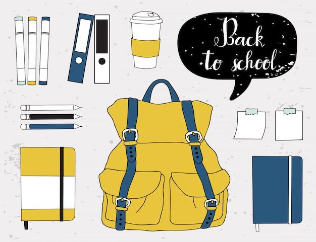 School supplies elements.