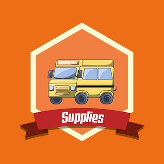 School supplies emblem with school bus icon