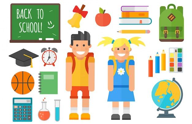School supplies equipment and schoolkid character set