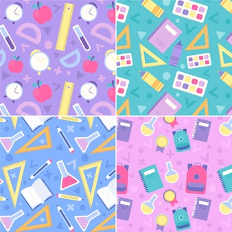 School supplies flat design seamless pattern