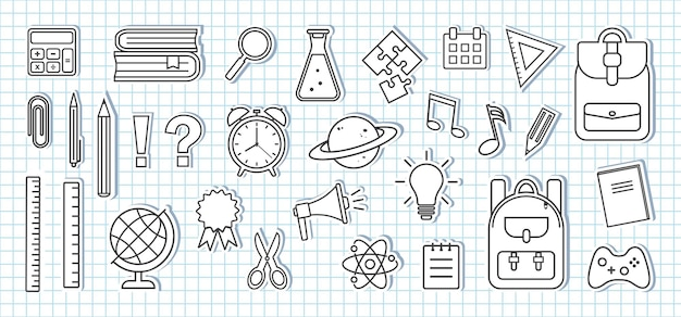 School supplies icons. paper stickers on sheet of school checkered notebook. black and white design. vector illustration