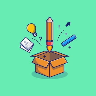 Дизайн иллюстрации школьных принадлежностей из картонной коробки