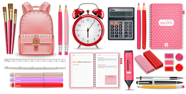 School supplies pink collection