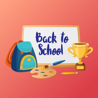 School supplies poster design with pink backround template