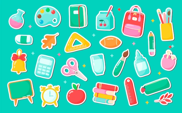School supplies set cartoon objects and accessories include books backpack ball alarm clock ruler notebook apple palette bell pencil case glue pencil pen scissors brush headphones