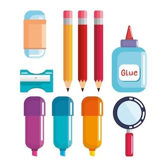 School supplies set icons