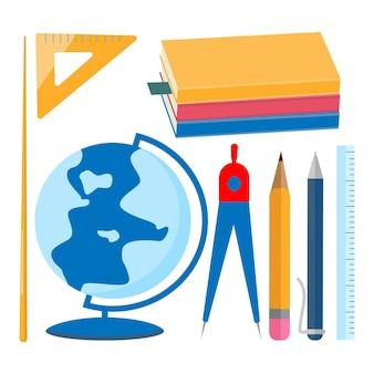 학용품 세트입니다. 교과서, 글로브, 포인터, 나침반, 펜 연필 눈금자 평면 디자인 벡터 일러스트 레이 션