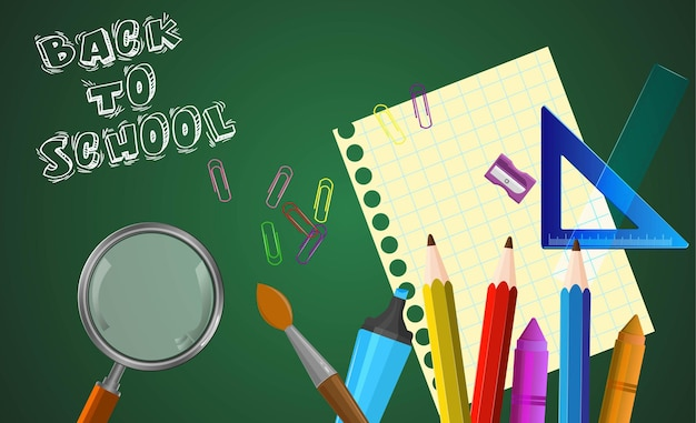 School supplies set with colorful pencil and crayons back to school