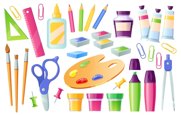 School supplies and stationery learning items