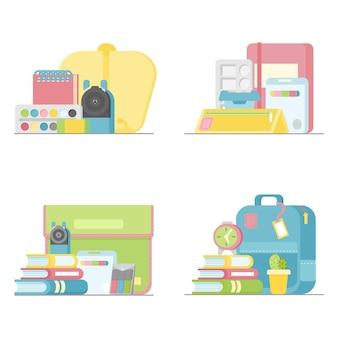 Школьные принадлежности, точилка для акварели и ластик, подставка для блокнота для учебника вектор