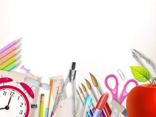 School supplies on white background ready for your design.