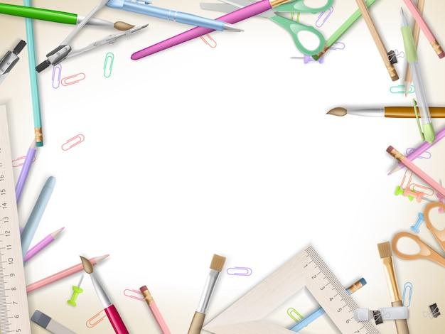 School supplies on white.