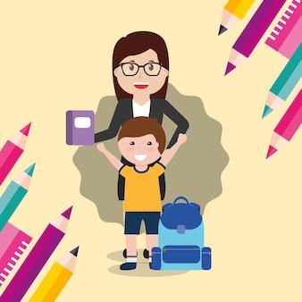 Школьный учитель и ученик с книжным рюкзаком