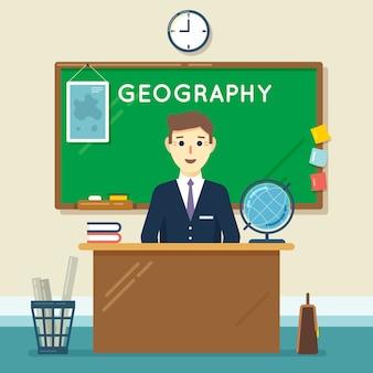 Insegnante di scuola in aula. lezione di geografia. istruzione e apprendimento, studio della conoscenza. illustrazione vettoriale in stile piatto