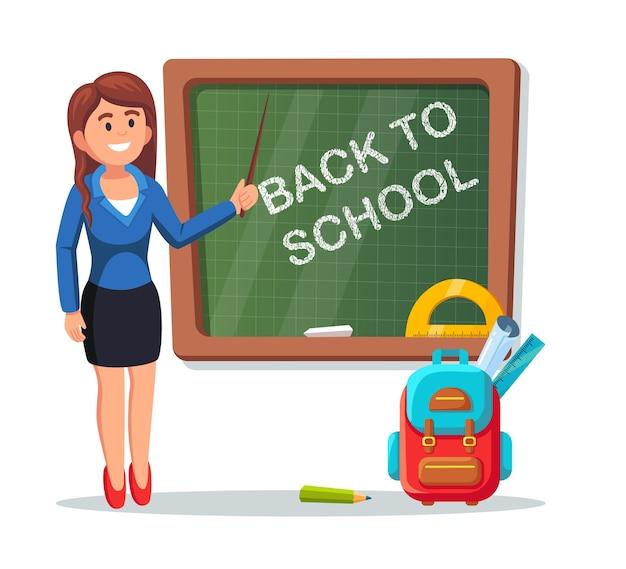 교실에서 칠판 근처 학교 교사입니다. 포인터로 수업을 가르치는 여자. 학교로 돌아가다