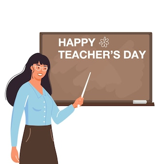 School teacher teach at blackboard in classroom.