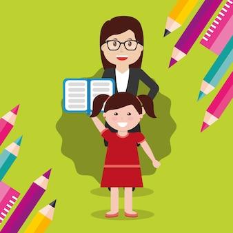 学校の先生の女性と開いている本を持つ少女の学生