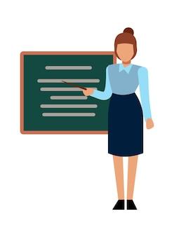 학교 선생님. 그래픽 보드 앞에서 발표하거나 설명하는 여성, 벡터 만화 교육 학습 캐릭터