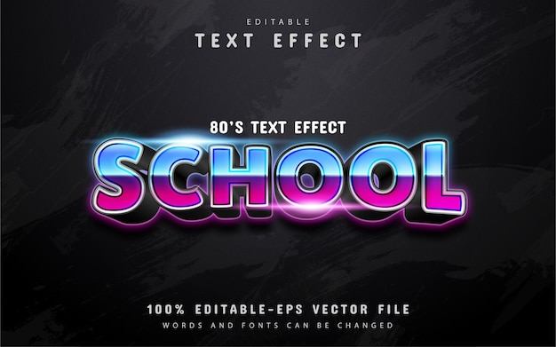 School text, 80s gradient style text effect