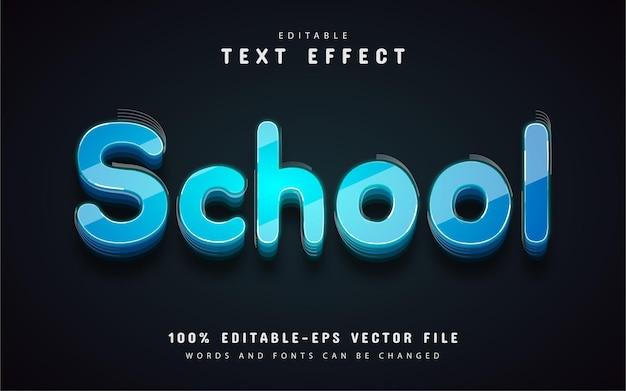 학교 텍스트, 파란색 3d 텍스트 효과