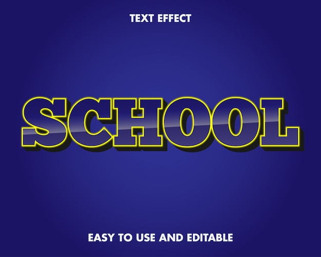 School text effect. easy to use and editable. vector illustration. premium vector
