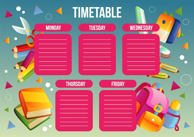 School time table template with school supplies