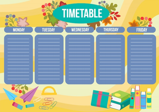 School time table with books