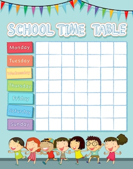 School time table with happy children