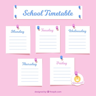 School timetable as notes