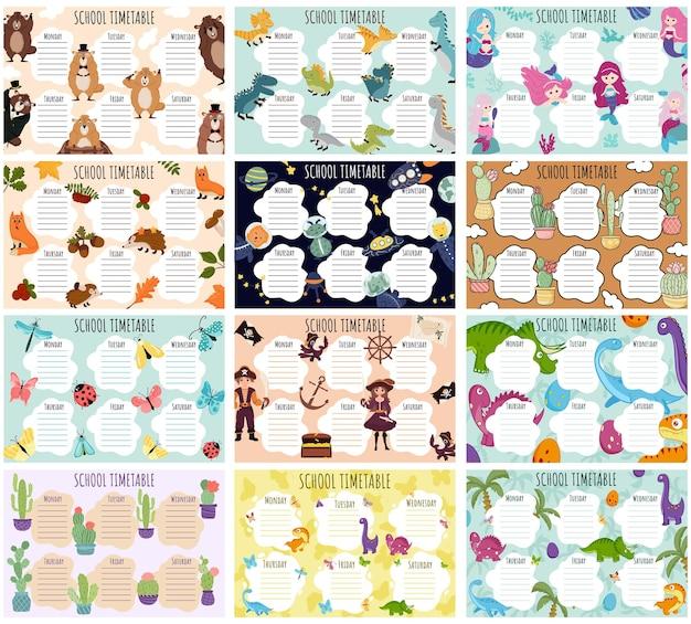 Школьное расписание большой набор. векторный шаблон еженедельного расписания для школьников. 12 вариантов школьного расписания. динозавры, насекомые, русалки, кактусы, космос, сурки, осень, пираты.