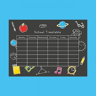 School timetable over blackboard with school icons childrawning cartoon. back to school. illustration